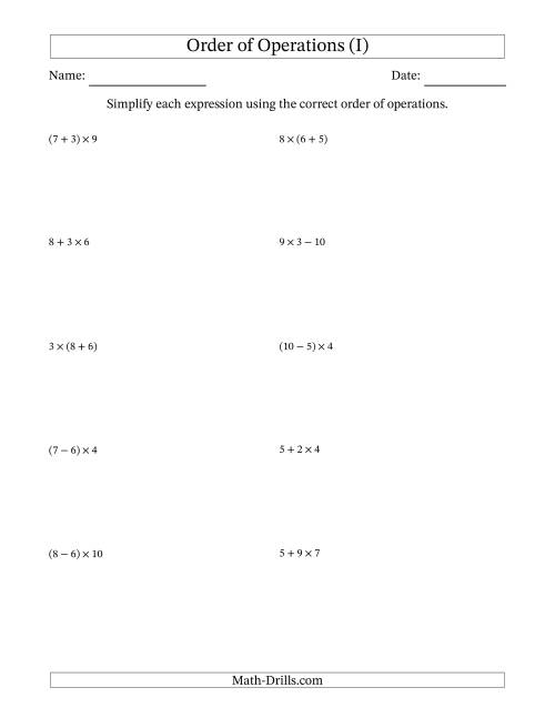 The Order of Operations with Whole Numbers Multiplication, Addition and Subtraction Only (Two Steps) (I) Math Worksheet