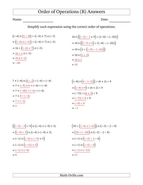 The Order of Operations with Negative and Positive Integers and No Exponents (Five Steps) (B) Math Worksheet Page 2