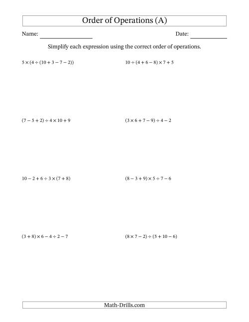 The Order of Operations with Whole Numbers and No Exponents (Five Steps) (A) Math Worksheet