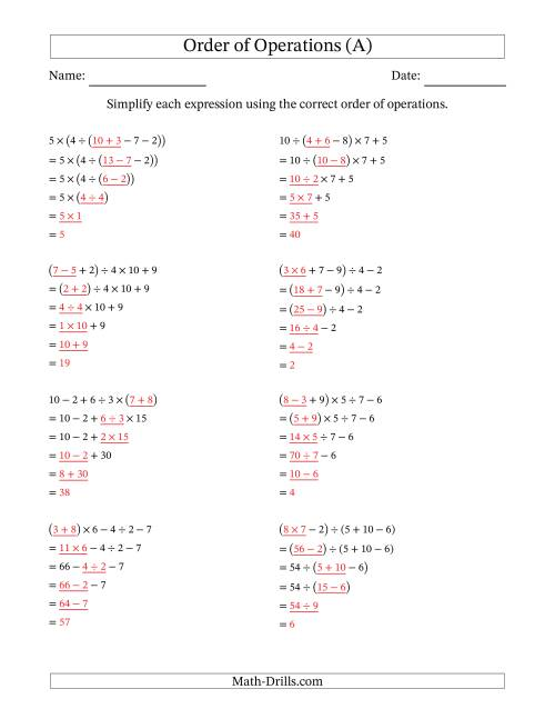 Free printable order of operations worksheets with exponents