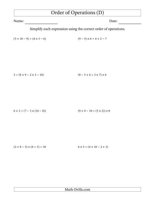 The Order of Operations with Whole Numbers and No Exponents (Five Steps) (D) Math Worksheet