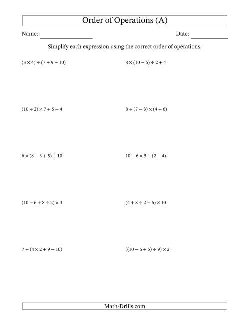 The Order of Operations with Whole Numbers and No Exponents (Four Steps) (A) Math Worksheet