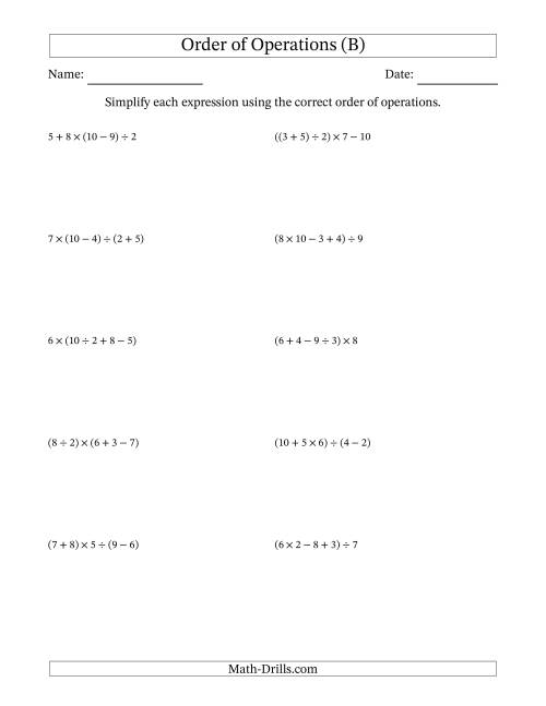 The Order of Operations with Whole Numbers and No Exponents (Four Steps) (B) Math Worksheet