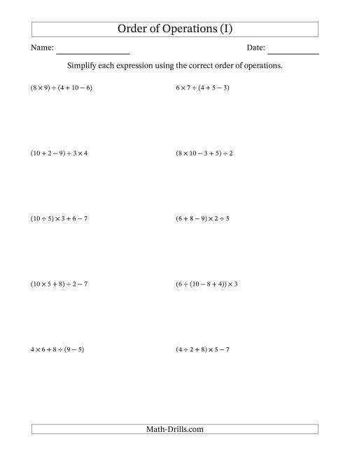 The Order of Operations with Whole Numbers and No Exponents (Four Steps) (I) Math Worksheet