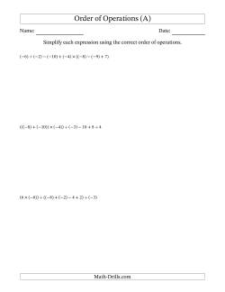 Order of Operations with Negative and Positive Integers and No Exponents (Six Steps)