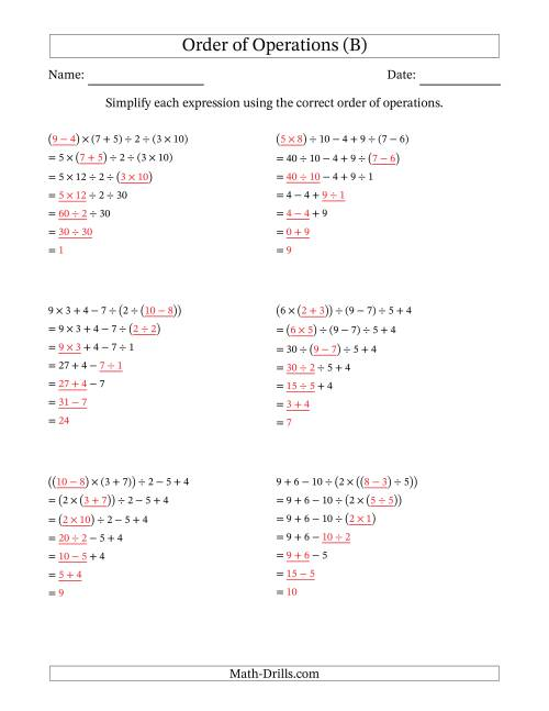 The Order of Operations with Whole Numbers and No Exponents (Six Steps) (B) Math Worksheet Page 2