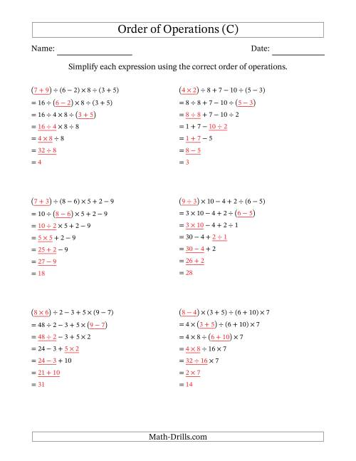 The Order of Operations with Whole Numbers and No Exponents (Six Steps) (C) Math Worksheet Page 2