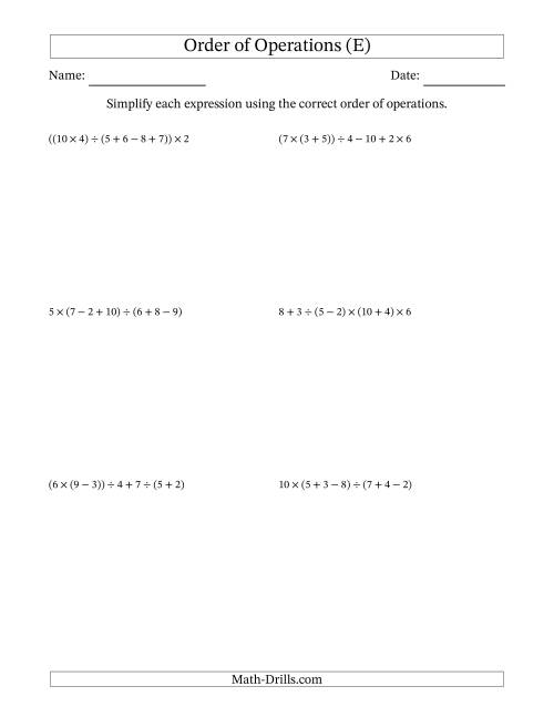 The Order of Operations with Whole Numbers and No Exponents (Six Steps) (E) Math Worksheet
