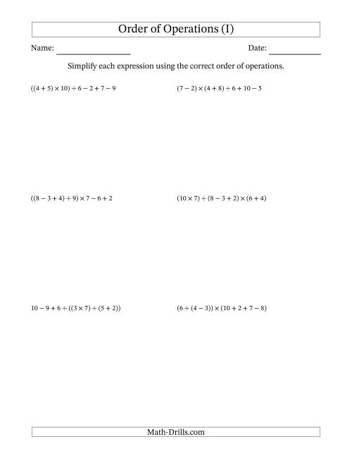 The Order of Operations with Whole Numbers and No Exponents (Six Steps) (I) Math Worksheet