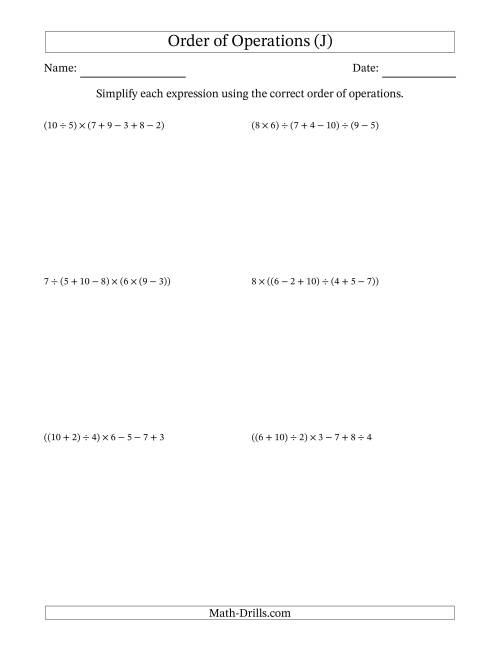 The Order of Operations with Whole Numbers and No Exponents (Six Steps) (J) Math Worksheet