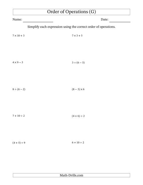 The Order of Operations with Whole Numbers and No Exponents (Two Steps) (G) Math Worksheet