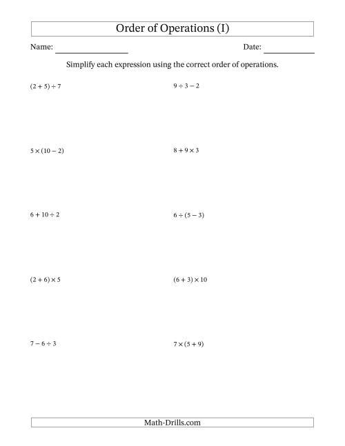 The Order of Operations with Whole Numbers and No Exponents (Two Steps) (I) Math Worksheet