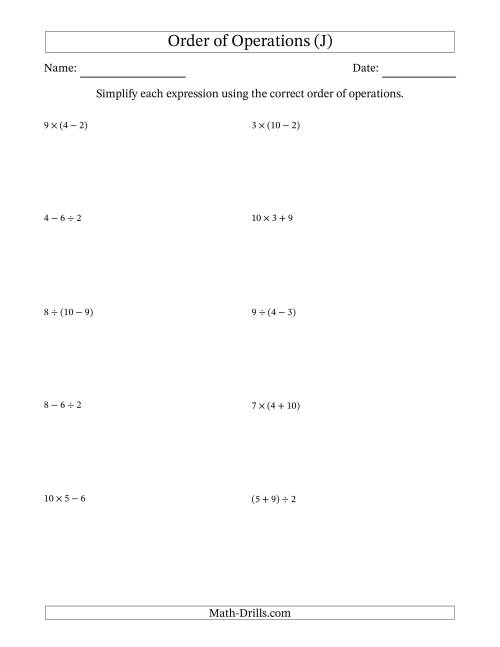 The Order of Operations with Whole Numbers and No Exponents (Two Steps) (J) Math Worksheet