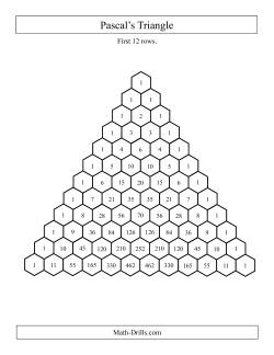 Pascal's Triangle -- First 12 Rows (A)