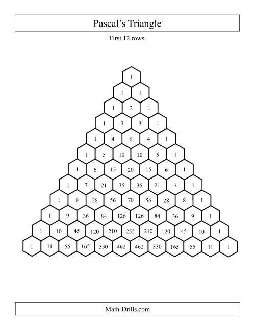 The Pascal's Triangle -- First 12 Rows (A) Math Worksheet