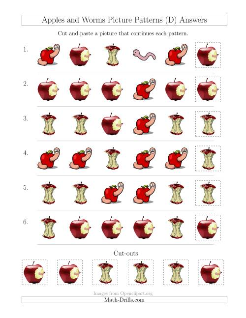 The Apples and Worms Picture Patterns with Shape Attribute Only (D) Math Worksheet Page 2