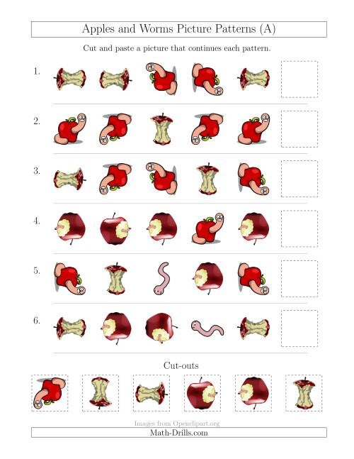 The Apples and Worms Picture Patterns with Shape and Rotation Attributes (A) Math Worksheet