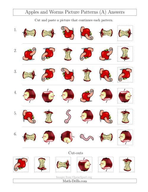 The Apples and Worms Picture Patterns with Shape and Rotation Attributes (A) Math Worksheet Page 2