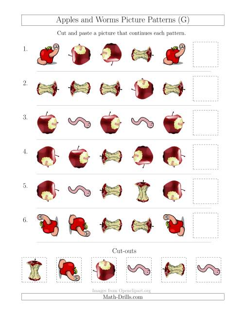 The Apples and Worms Picture Patterns with Shape and Rotation Attributes (G) Math Worksheet