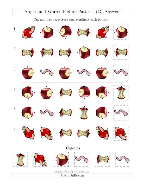 The Apples and Worms Picture Patterns with Shape and Rotation Attributes (G) Math Worksheet Page 2