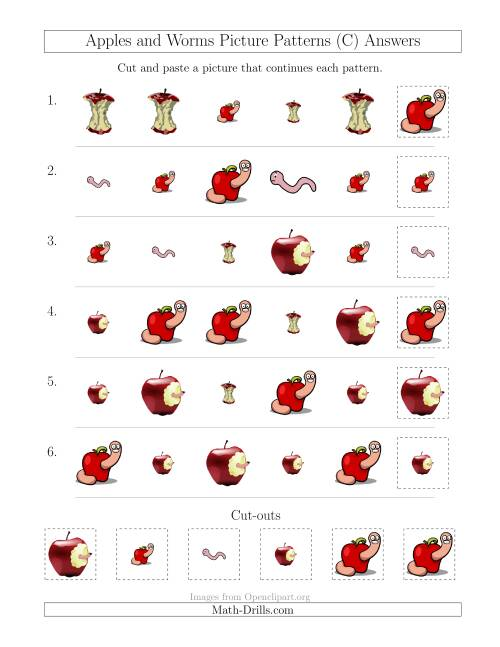 The Apples and Worms Picture Patterns with Shape and Size Attributes (C) Math Worksheet Page 2