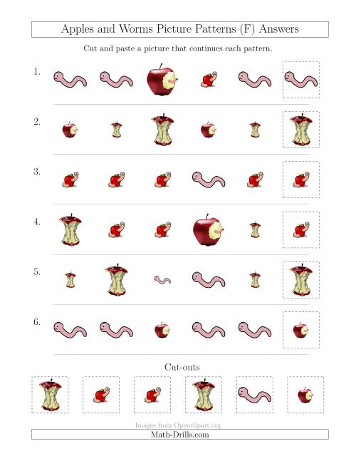 The Apples and Worms Picture Patterns with Shape and Size Attributes (F) Math Worksheet Page 2