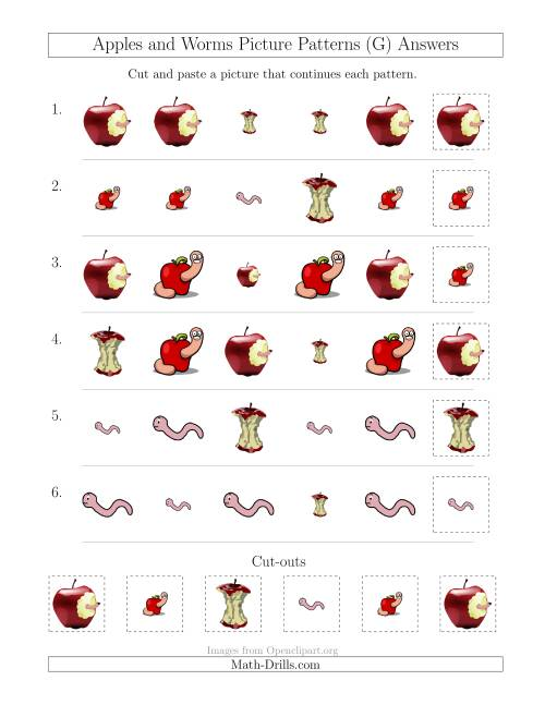 The Apples and Worms Picture Patterns with Shape and Size Attributes (G) Math Worksheet Page 2