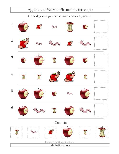 The Apples and Worms Picture Patterns with Shape and Size Attributes (All) Math Worksheet