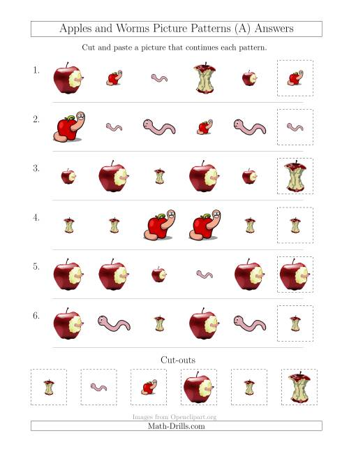 The Apples and Worms Picture Patterns with Shape and Size Attributes (All) Math Worksheet Page 2
