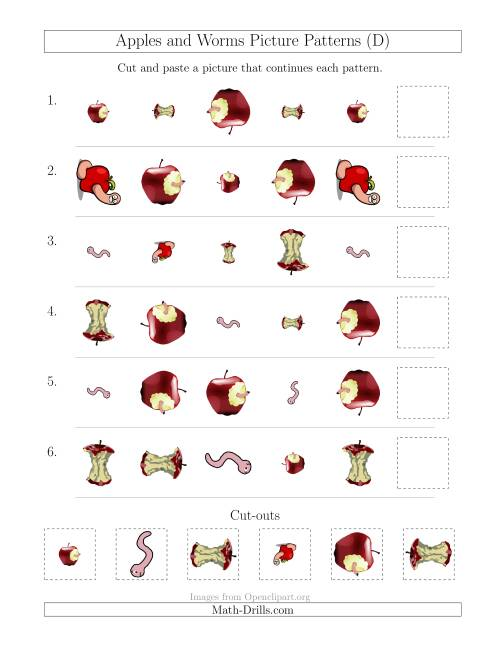 The Apples and Worms Picture Patterns with Shape, Size and Rotation Attributes (D) Math Worksheet