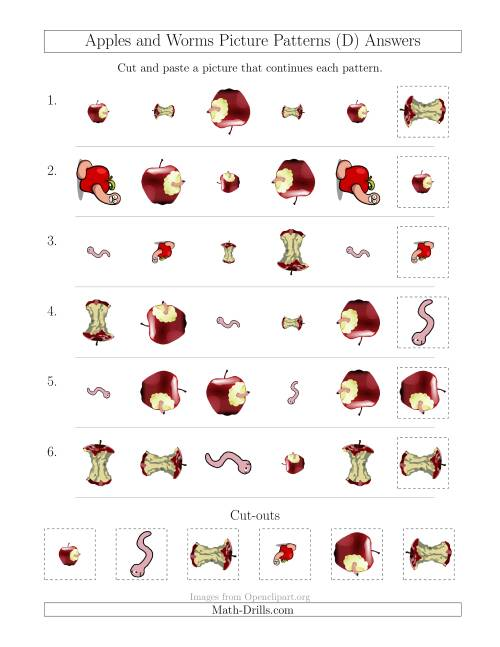 The Apples and Worms Picture Patterns with Shape, Size and Rotation Attributes (D) Math Worksheet Page 2