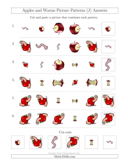 The Apples and Worms Picture Patterns with Shape, Size and Rotation Attributes (J) Math Worksheet Page 2