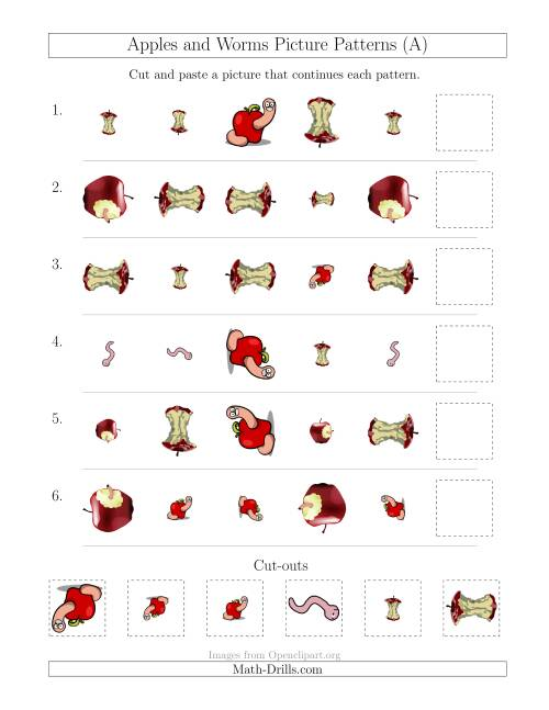 The Apples and Worms Picture Patterns with Shape, Size and Rotation Attributes (All) Math Worksheet