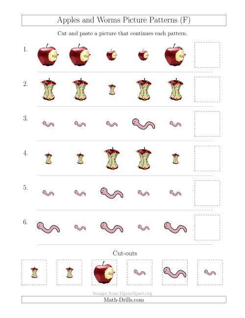 The Apples and Worms Picture Patterns with Size Attribute Only (F) Math Worksheet