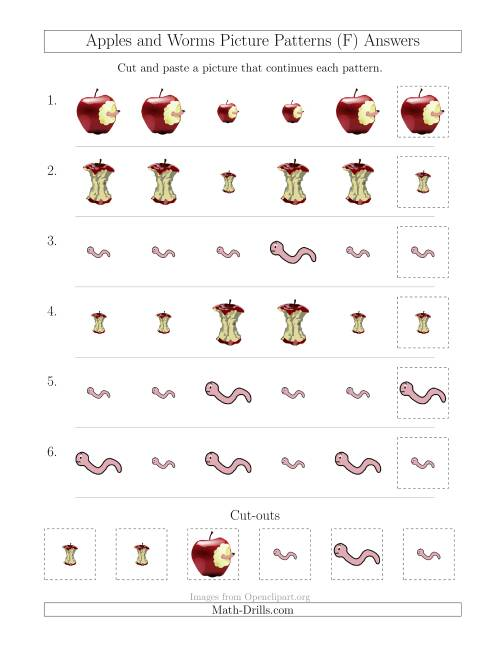 The Apples and Worms Picture Patterns with Size Attribute Only (F) Math Worksheet Page 2