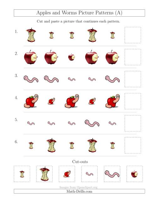 The Apples and Worms Picture Patterns with Size Attribute Only (All) Math Worksheet