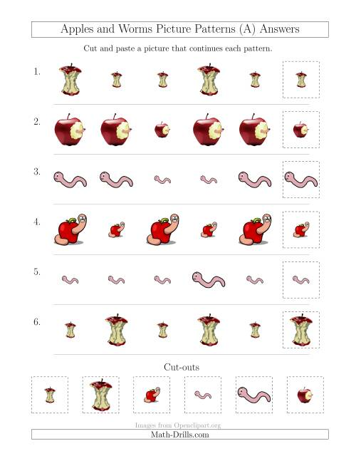 The Apples and Worms Picture Patterns with Size Attribute Only (All) Math Worksheet Page 2