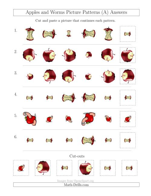 The Apples and Worms Picture Patterns with Size and Rotation Attributes (A) Math Worksheet Page 2