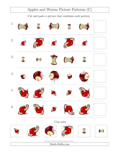 The Apples and Worms Picture Patterns with Size and Rotation Attributes (C) Math Worksheet