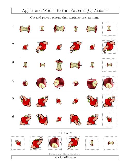 The Apples and Worms Picture Patterns with Size and Rotation Attributes (C) Math Worksheet Page 2