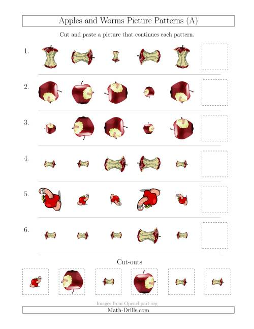 The Apples and Worms Picture Patterns with Size and Rotation Attributes (All) Math Worksheet