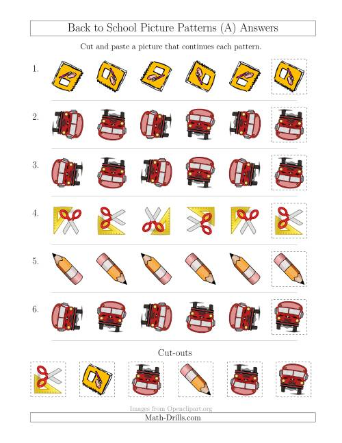 The Back to School Picture Patterns with Rotation Attribute Only (A) Math Worksheet Page 2