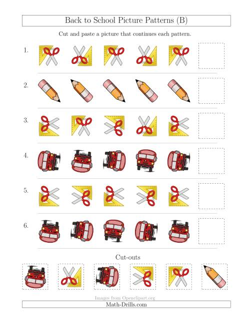 The Back to School Picture Patterns with Rotation Attribute Only (B) Math Worksheet