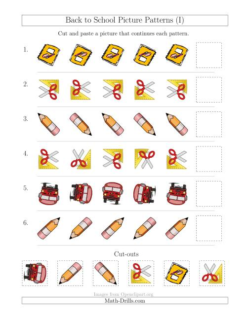 The Back to School Picture Patterns with Rotation Attribute Only (I) Math Worksheet