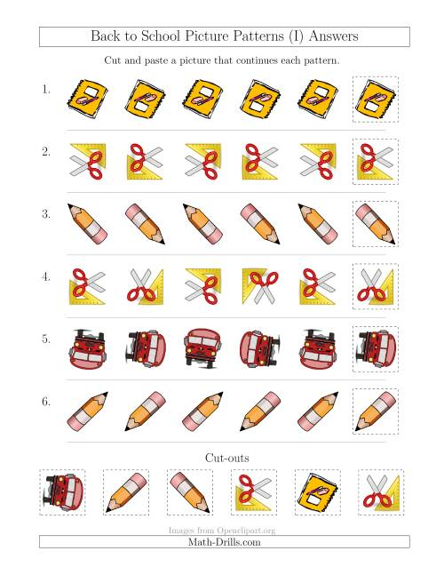 The Back to School Picture Patterns with Rotation Attribute Only (I) Math Worksheet Page 2