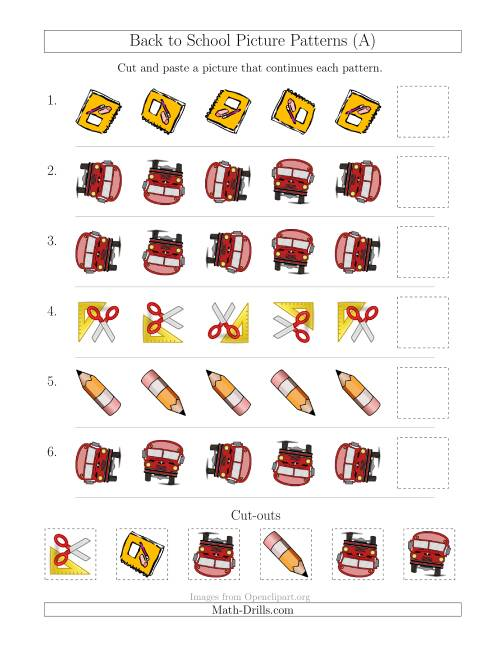 The Back to School Picture Patterns with Rotation Attribute Only (All) Math Worksheet