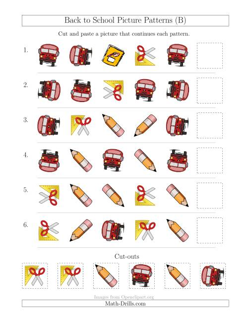 The Back to School Picture Patterns with Shape and Rotation Attributes (B) Math Worksheet