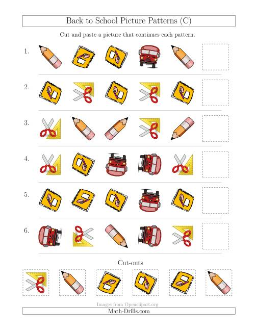 The Back to School Picture Patterns with Shape and Rotation Attributes (C) Math Worksheet