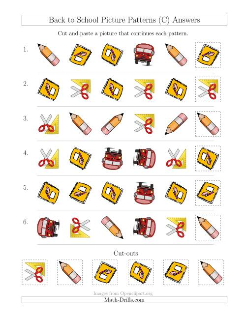 The Back to School Picture Patterns with Shape and Rotation Attributes (C) Math Worksheet Page 2
