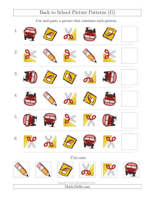 The Back to School Picture Patterns with Shape and Rotation Attributes (G) Math Worksheet